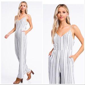 Montrez ivory white striped boho jumpsuit